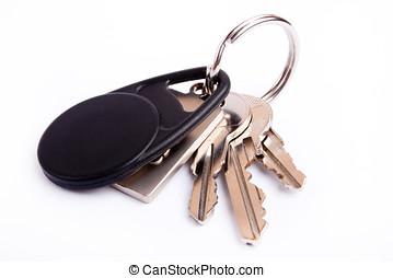 keys on keyring - Three keys on keyring isolated over white