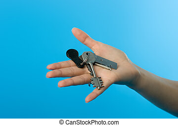 Keys on womans hand