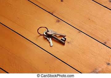keys on wooden floor