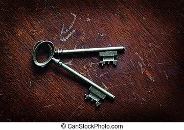 Keys on Wooden Surface to Unlock