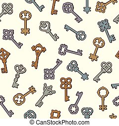 Keys pattern. Safety symbols key collection in victorian style vector seamless background