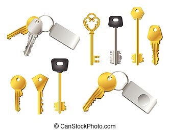 Keys - realistic modern vector set of objects