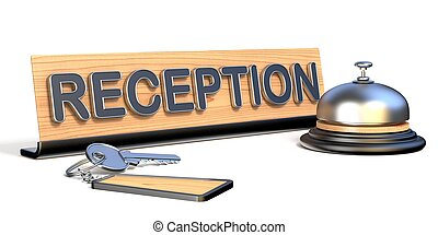 Keys, reception bell and reception sign 3D