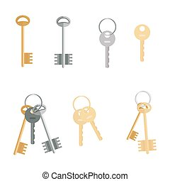 Keys set isolated on white background. Flat cartoon icons of door keys in a modern style.