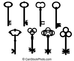 Keys - Set  of keys on a white background