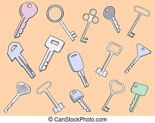 Keys set vector illustration