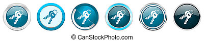 Keys silver metallic chrome border icons in 6 options, set of web blue round buttons isolated on white background