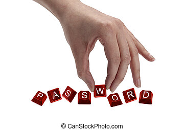 keys spelling the word password - Concept shot of hand...
