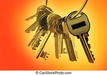 Keys - Bunch of keys on orange tone background