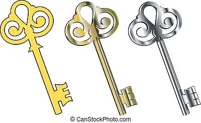 Keys - Three vector keys : gold, silver and ..... EPS 8, AI...