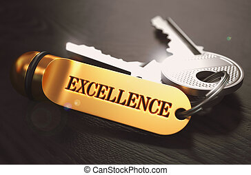 Keys to Excellence. Concept on Golden Keychain. - Keys to...