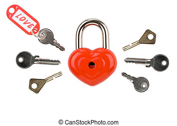 Keys to heart - Image of red heart-shaped lock with several...
