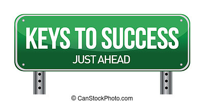 Keys to success illustration design over a white background