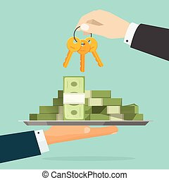 Keys to success vector illustration, hands giving money and key