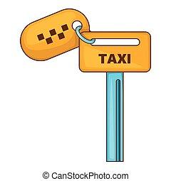 Keys to taxi icon, cartoon style