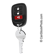 Keys to the car with an automatic control isolated on white...
