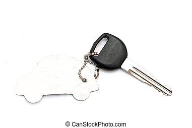 Keys to the car with trinkets in the form of a car.