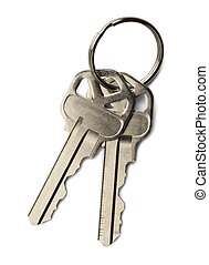 Keys - Two house keys on a key ring isolated on a white...