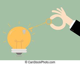 Keys unlocking ideas bulb.Key To Success. Business Concept Illustration.