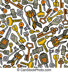 Keys vector seamless pattern