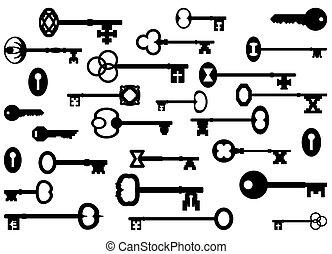 Keys - Vintage key silhouettes