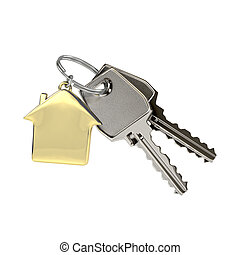 Keys with a house pendant. - Two keys on a ring with a...