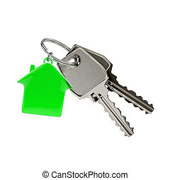 Keys with a house pendant. - Two keys on a ring with a green...