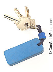 Keys with blue tag isolated on white