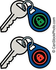 Keys with padlock symbol on tags