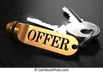 Keys with Word Offer on Golden Label.