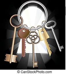 keys(11).jpg - against the background of a large keyhole...
