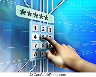 Keyword pad - Hand selecting password on a keypad. Digital...
