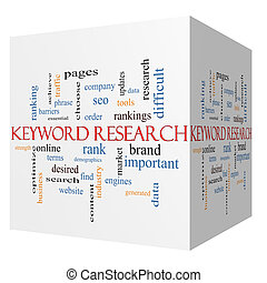 Keyword Research 3D cube Word Cloud Concept with great terms such as rankings, order, phrase and more.