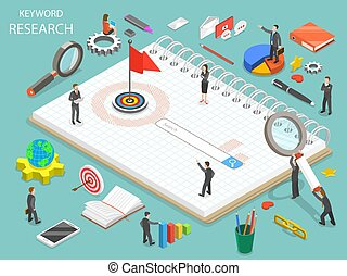 Keyword research flat isometric vector concept. Team of colleagues are standing around the search line that is a part of the drawn key.