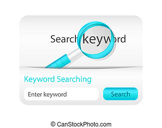 Light keyword searching website element with blue magnifying glass