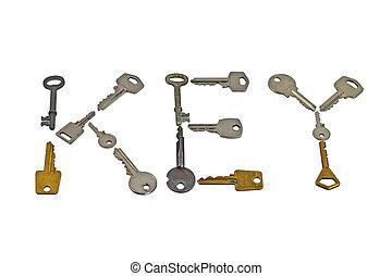 Set of keys forming word Key isolated on white