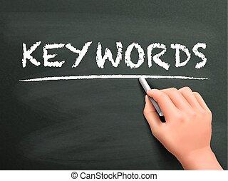keywords, 手, 単語, 書かれた