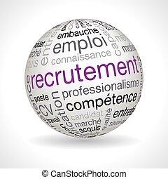 keywords, esfera, tema, francés, reclutamiento
