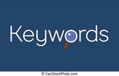 keywords, glas, concept, grondig, vergroten