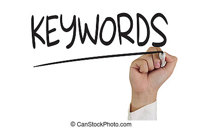 Keywords - Image of a hand holding marker and write keywords...