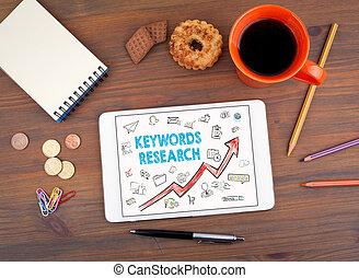 keywords, investigación, empresa / negocio, concept., tableta, en, un, viejo, tabla de madera