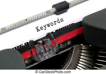 keywords, máquina de escribir