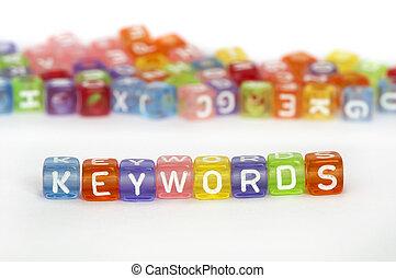 keywords, text, würfel, bunte