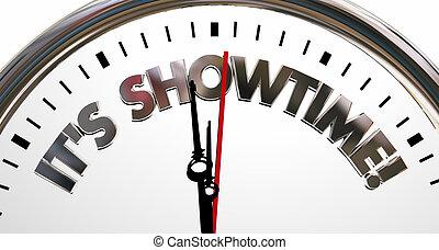 kezd, óra, showtime, ábra, elindít, program, szavak, -e, 3