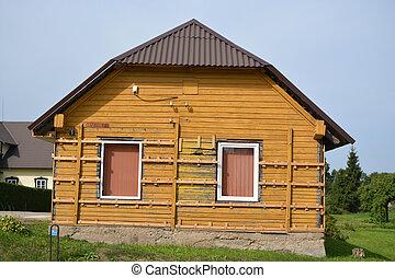 kezd, öreg, faház, instaling, kellék, szigetelés, deszkák