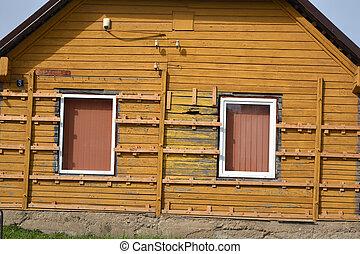 kezd, öreg, faház, szigetelés, instaling, deszkák