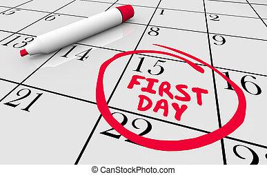 kezd, szó, ábra, 1, elindít, munka, bekerített, új, naptár, 1 nap, 3