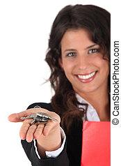 kezelő, birtok, kulcsok, felett, ügynök, női