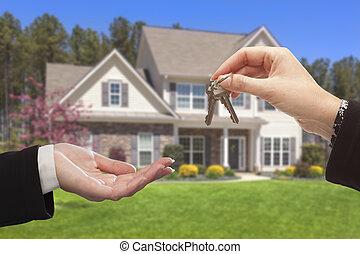kezelő, kulcsok, épület, felett, ügynök, új, elülső, otthon