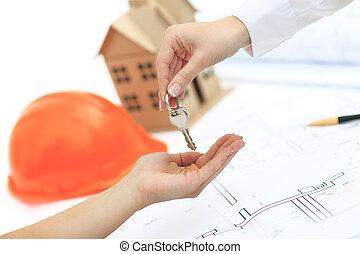 kezelő, kulcsok, fordíts, jövő, otthon